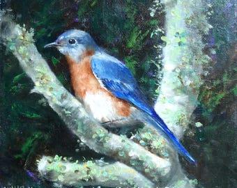 Blue bird painting, bluebird art