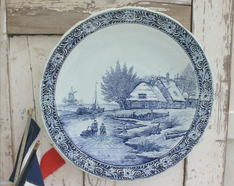 Large Delft Charger / Delft wall Hanging / Delftware / Blue and White / Holland / Dutch / Delft / Platter