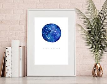 Sagittarius Zodiac Print - Watercolour Print, Sagittarius Art, Sagittarius Poster, Horoscope, Sagittarius Gift, Wall Home Decor, Modern