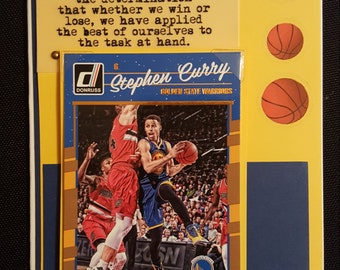 Golden State Warriors Birthday card with 2015 & 2016 MVP Stephen Curry or Kevin Durant  on a detachable trading card