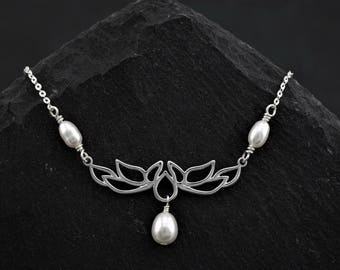 Elegant Lotus blossom necklace, sterling silver, freshwater pearls. Pure, Yoga, zen, minimalist jewelry. Gift for her Scotland by Lys & Rose