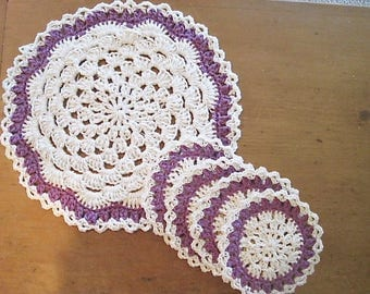 Coasters and Doily Set, Wedding gift, Bridal Shower gift, Crochet Cotton Set in Beige and Mauve Purple, gift for her and gift for the home
