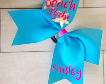 Beach cheer bow- optional personalization