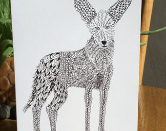 Coyote card, Southwest animal card, pen and ink, black and white