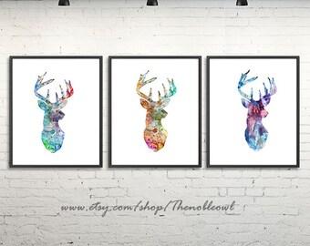 Deer Art Print Watercolor Deer Horn, Animal Art, Deer Watercolor Poster, Hunting Art - Set of 3 prints 141-2/175