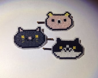 Cross stitched animal hairpins