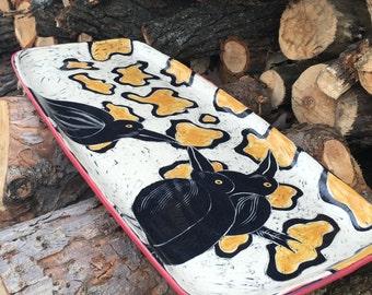 Large pottery serving tray, large rectangular ceramic tray, bird pottery, black bird platter, crow tray, handmade pottery, DL17011