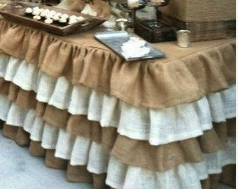 Wedding Burlap and Ivory Tablecloth - Ruffled Tablecloth - Rustic Tiered Tablecloth - Burlap Overlay - Country Tablecloth - 5 Ruffles