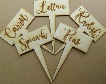 Wooden Garden Markers, set of 5