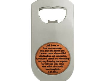 Third Anniversary Him / Custom Leather Beer Bottle Opener / 3rd Anniversary / Husband Anniversary / Bottle Opener with Vows, Song, Names