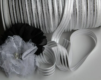 """5/8"""" Fold Over Elastic FOE White with Silver Stripes"""