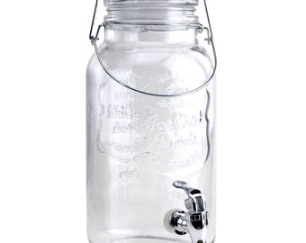 Clear Glass Mason Jar Beverage Dispenser, 12-Inch