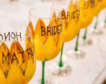 Sunflower Hand Painted Wine Glass/ Wineglasses (Birthday Gift, Bridal shower, Bridal Party, Bride, Bridesmaid, Maid of Honor, Rustic wedding