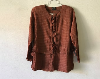 Vintage Blouse - Loose Layered Top Sheer Brown