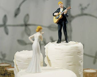 Love Serenade Guitar Playing Groom and Bride Wedding Cake Topper - Choose your hair color  WS9208/9085