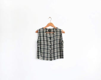Vintage black and cream gingham check crop tank with button front