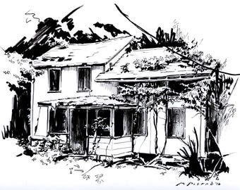 NATURE RECLAIMS 9x12 Original Pen and Ink Drawing Abandoned House