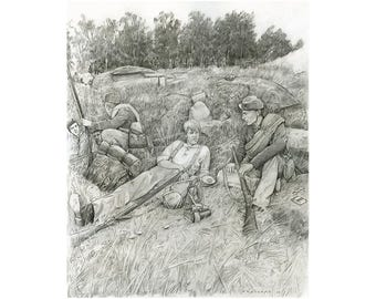 Hingham Brothers on Little Round Top Limited Edition Civil War Print 12x15