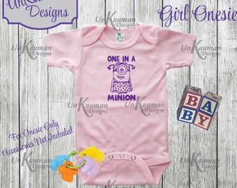 Minion Inspired One in a Minion Snap Tee for girls Baby Shower Gift