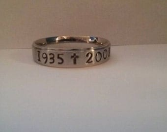 6mm Stainless Steel Custom Hand Stamped Memorial, In Memory ring - Sizes 3-16