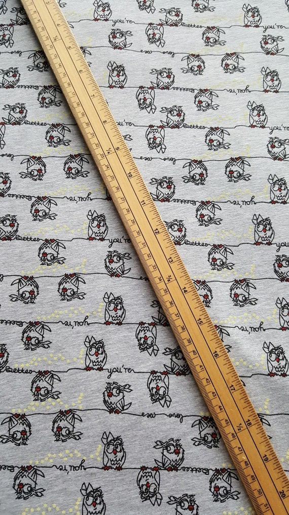 Birds on a wire Jersey Fabric - Grey