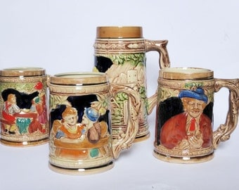 Lot of 4 Vintage Beer Steins, German Beer Mugs, 1960s Vintage Barware, Hand Painted Oktoberfest Mug, Made Japan, Mid Century, Man Cave Decor