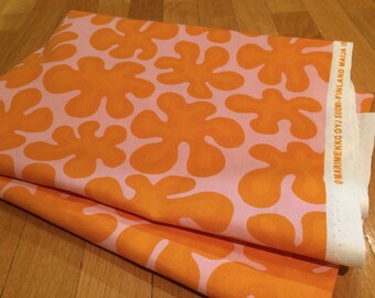 Marimekko Pink Orange Paprika cotton fabric, half yard,  Finland