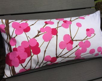 Handmade pink and white pillow case from Marimekko Lumimarja fabric, 12x24 inches 30x60cm, Finland