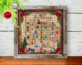 Mantel Decor - Christmas Gift - Secret Santa Gift - Christmas Scrabble Art Print - Hostess Gift - Wall Decor - Christmas Decoration