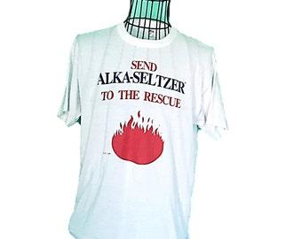Vintage Alka seltzer Short Sleeve Cotton T Tee Shirt Size XL    Advertising Send Alka Seltzer to the Rescue