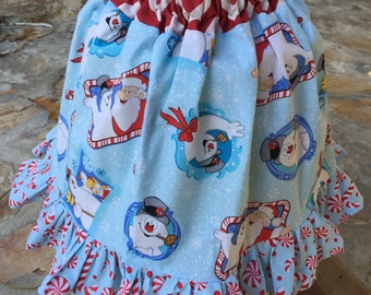 Frosty the Snowman, candy cane Christmas skirt with ruffles size 5