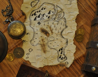 Pirate map - Handmade A5 size