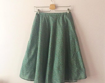 Midi Circle Skirt With Pockets | Elastic Waist Full Circle Skirt | Floral Midi Swing Skirt | XS S