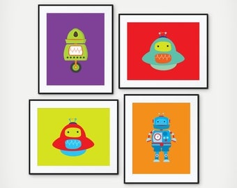 Robot Art - Beep Boop Bop means I love you in Robot - Robot Prints - Boy's Room Decor - Playroom Art - Robot Wall Art - Set of 4 Prints