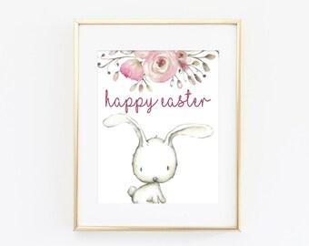 Easter Print - Spring Home Decor - Easter Decor - Easter Art Print - Spring Wall Art - Happy Easter Printable - Watercolor Bunny Print