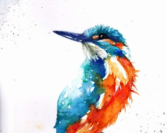 Original Watercolour Kingfisher Print by Artist Be Coventry Wildlife Animal Art
