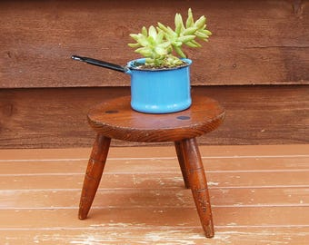 Wooden Foot Stool, Vintage Wood Stool, Plant Stand, Small Round Step Stool