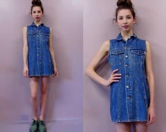90s Denim Jumper Mini Dress//vintage jean dress 90s grunge skater dress