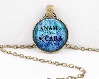 Anam Cara Soul Friend Gaelic Celtic Friendship  Pendant Necklace or Key Ring