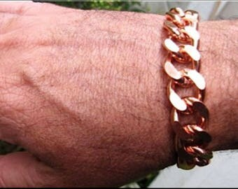 Men's Thick and Heavy Copper Bracelet  5/8  of an inch wide - CB639G -  Available in  8 to 11 inch lengths. - Made in the USA.