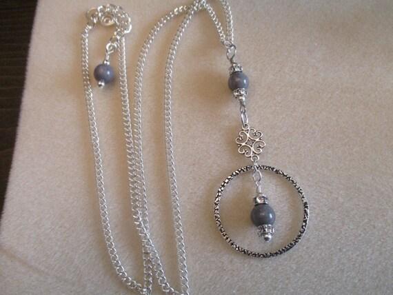 Malaysian Jade (Quartz) Circle Pendant Necklace N6151730
