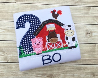 Boy or Girl Farm Barn Birthday Number Pig Horse Cow Rooster Applique Monogramed Shirt Tshirt Bodysuit Farmer Theme Top Red Barn grass