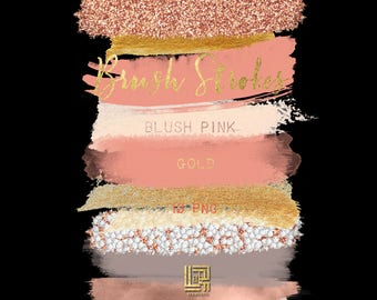 Blush pink. Nude. Gold glitter.  Brush Strokes Clip Art . Pink gold collection. Watercolor clipart. Digital Design Resource. Branding.