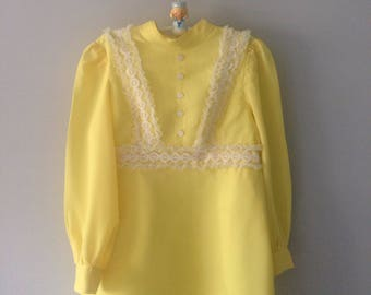 1960's handmade vintage bright yellow girls dress age 9-10