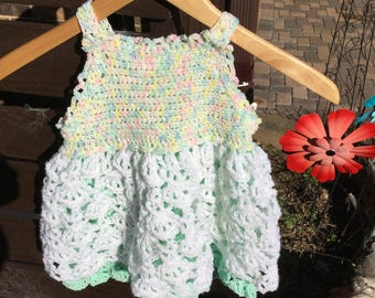 Hand Crocheted Sun Dress. Varigeted Top With White and Green Skirt