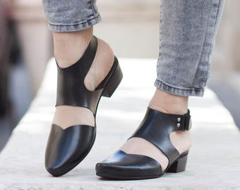 Women Leather Sandals, Heeled Sandals, Black Leather Sandals, Summer Shoes, Heels,