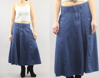 Liz Sport Denim Panel Circle Maxi Skirt Size 5 Women's 90's Vintage