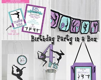 Gymnastics Party in a Box - Gymnastics Birthday Party Package - Gymnastics Complete Party Kit - Gymnastics Theme Party