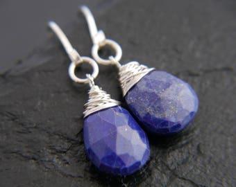 Lapis Lazuli, Sterling Silver Earrings, Wire Wrapped Jewelry, Gemstone Earrings, Teardrop Earrings, Briolette Earrings, Bridesmaid Gift