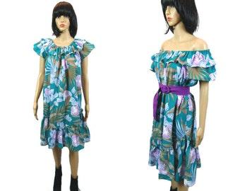 Vintage Hawaiian Dress/ Off Shoulder Hippie Dress / 70's Floral Ruffle / Tropical Clothing/ Resortwear/ Midi Dress Made in Hawaii/ Sundress